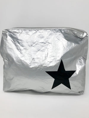 Hi Love Travel Silver Medium Pouch with Black Star