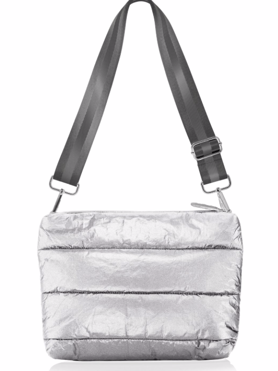 Puffer Crossbody Bag in Silver