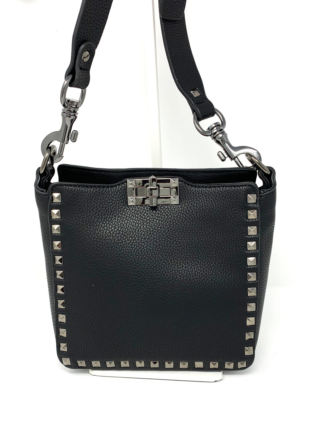 Small Studded Crossbody Bag in Black with Gunmetal Studs