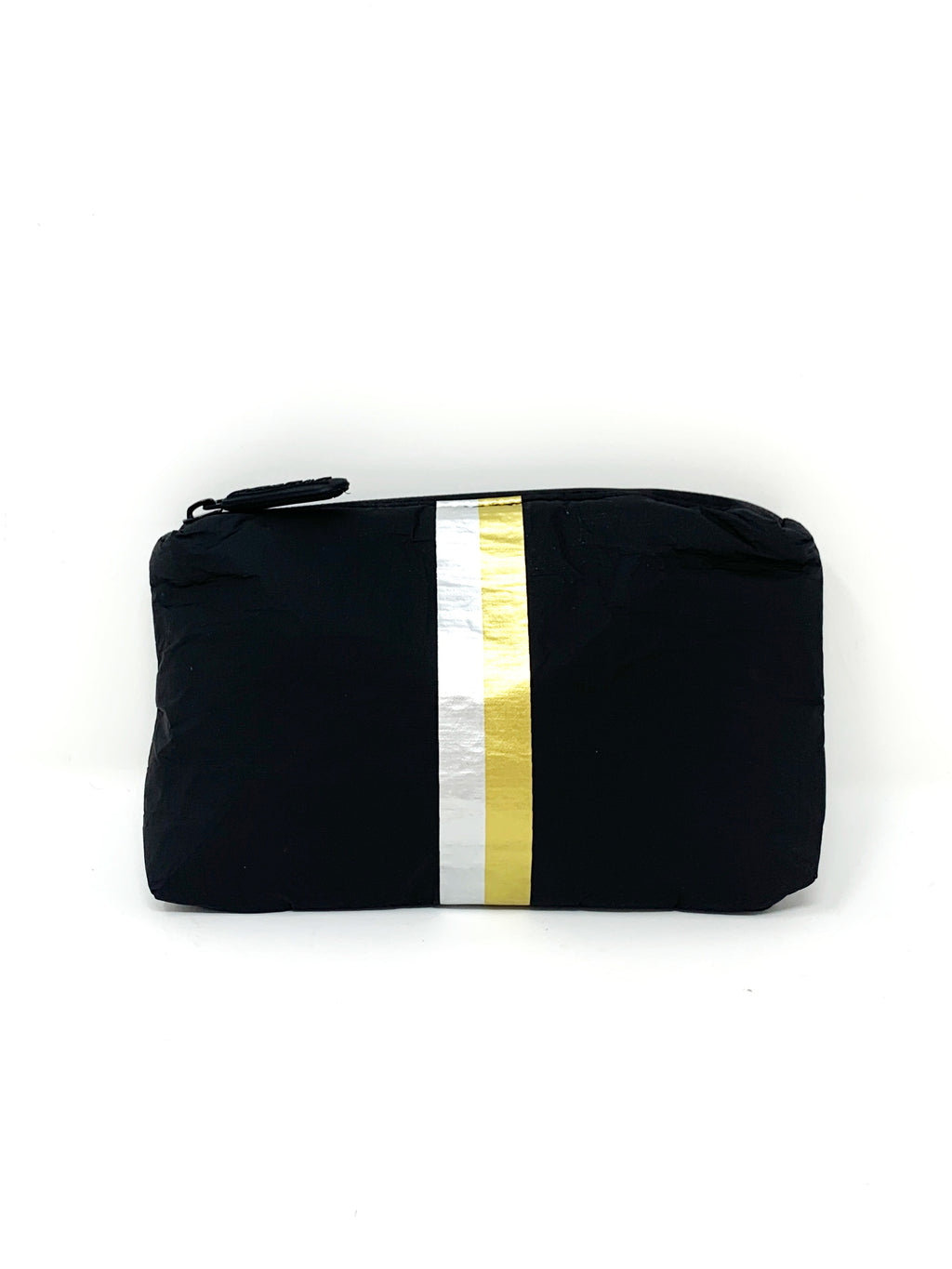 Hi Love Travel Black Small Pouch with Double Metallic Stripe