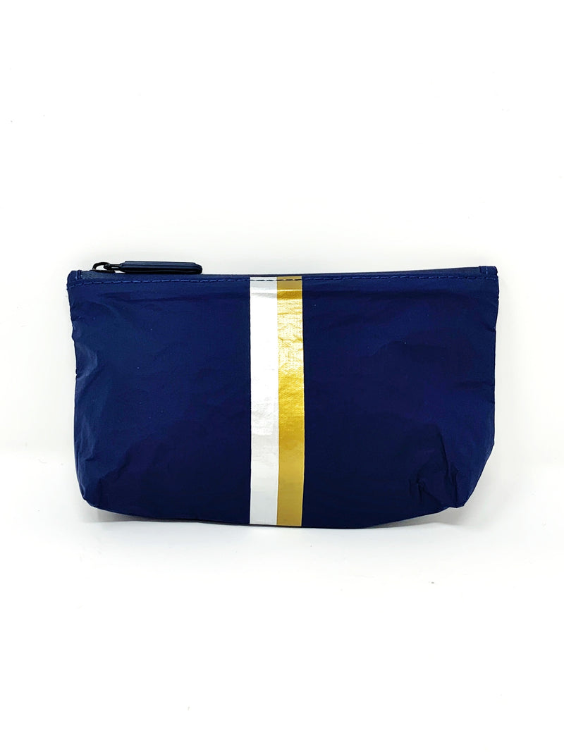 Hi Love Travel Navy Small Pouch with Double Metallic Stripe