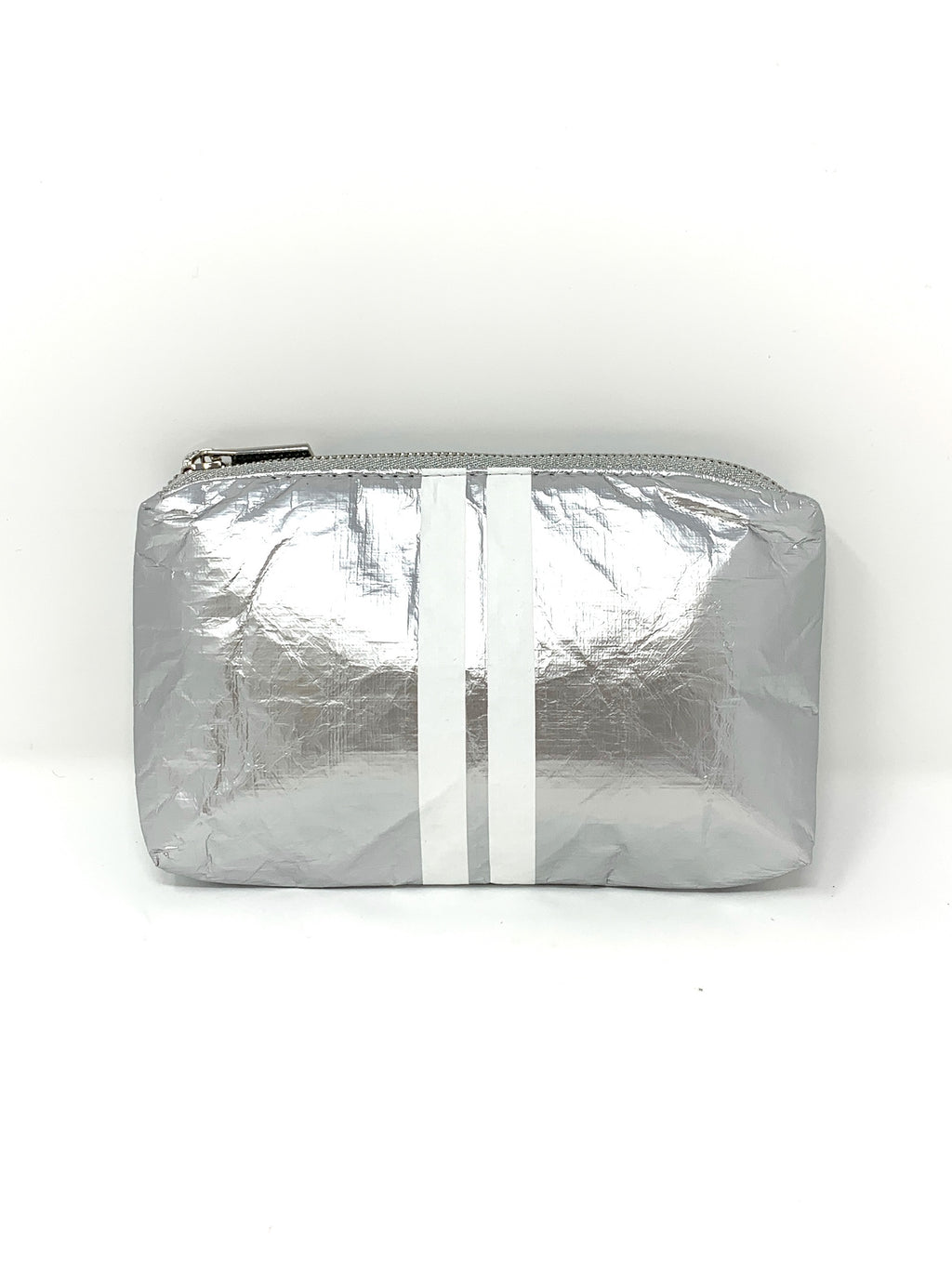 Hi Love Travel Silver Small Pouch with Double White Stripes