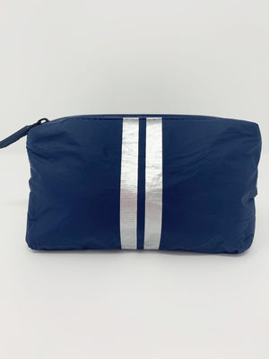 Hi Love Travel Navy Small Pouch with Double Silver Stripe