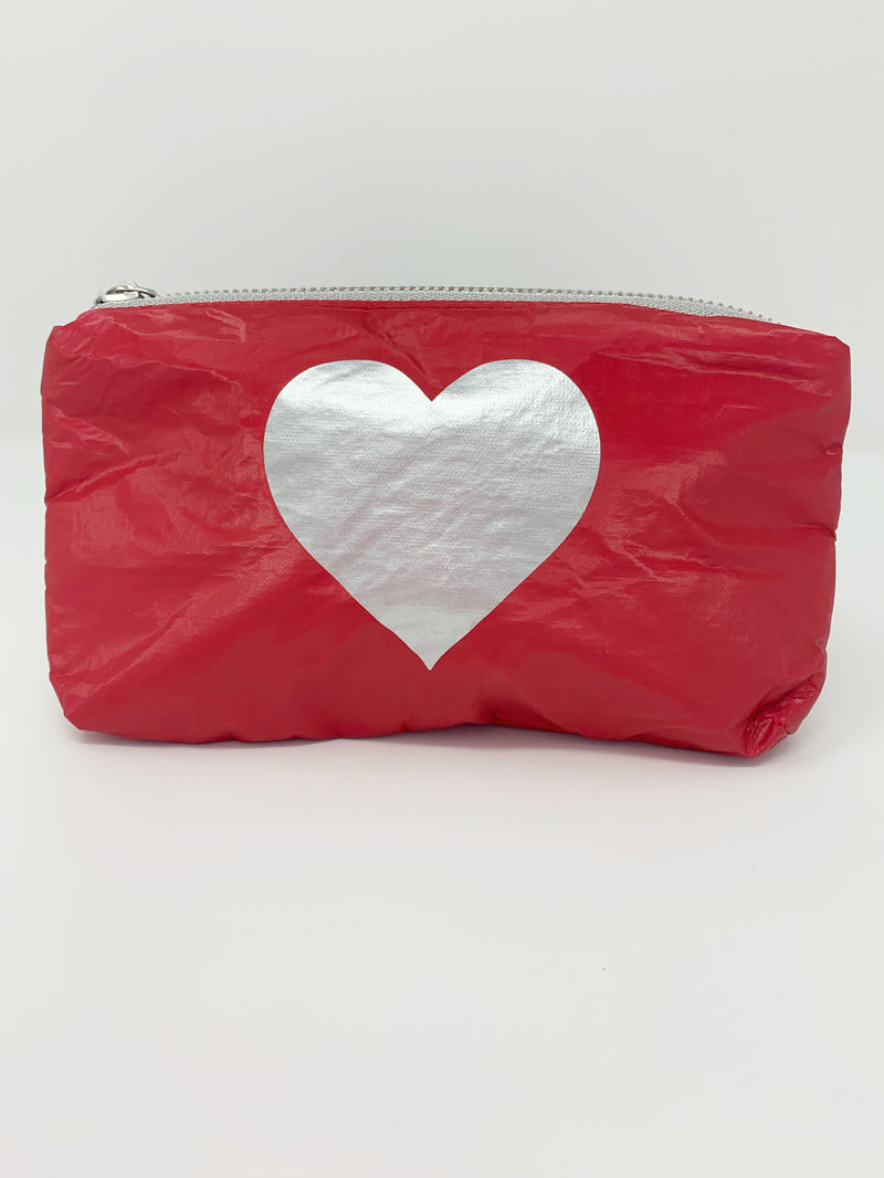 Hi Love Travel Red Small Pouch with Silver Heart