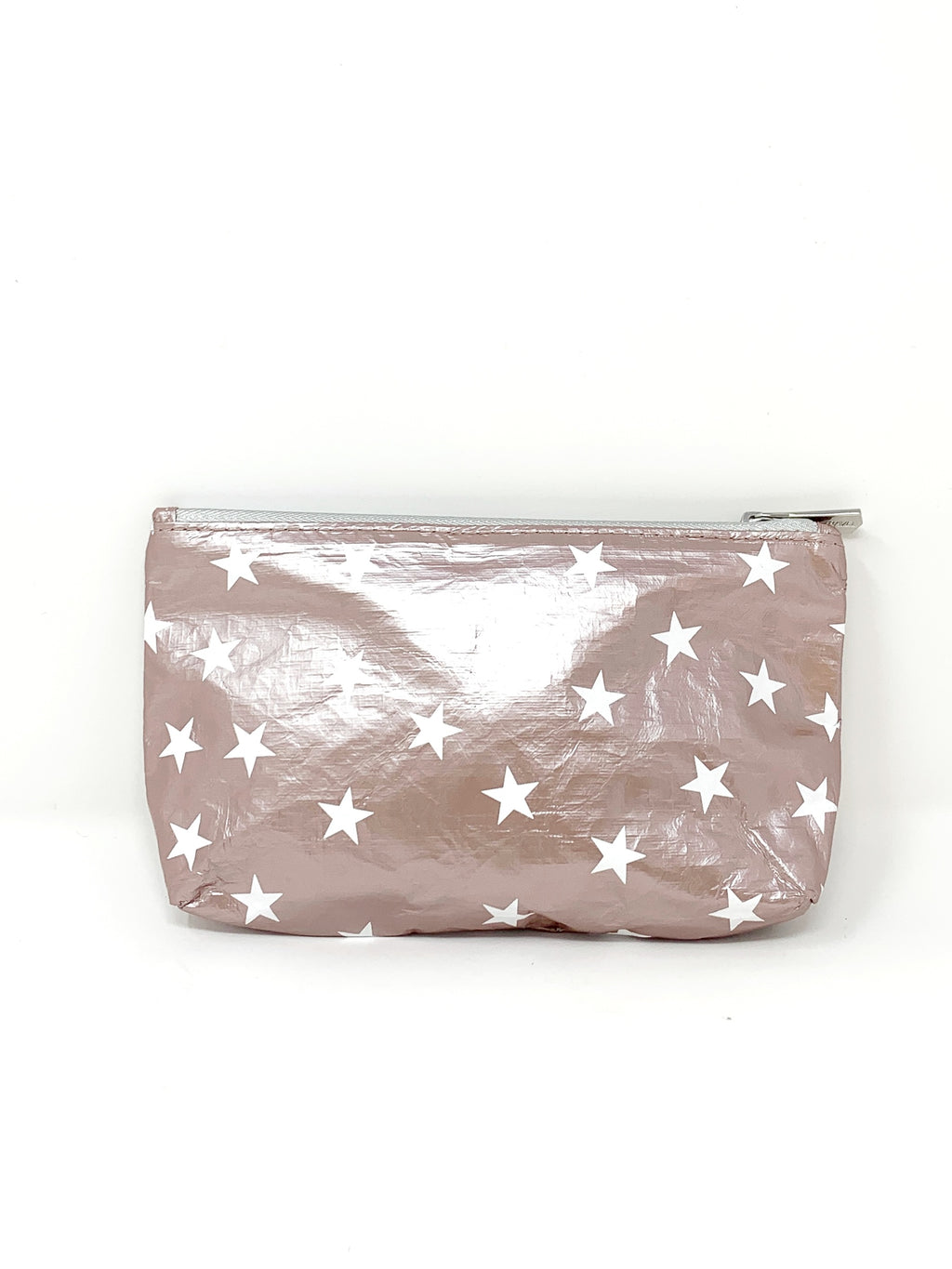 Hi Love Travel Rose Gold Small Pouch with White Stars