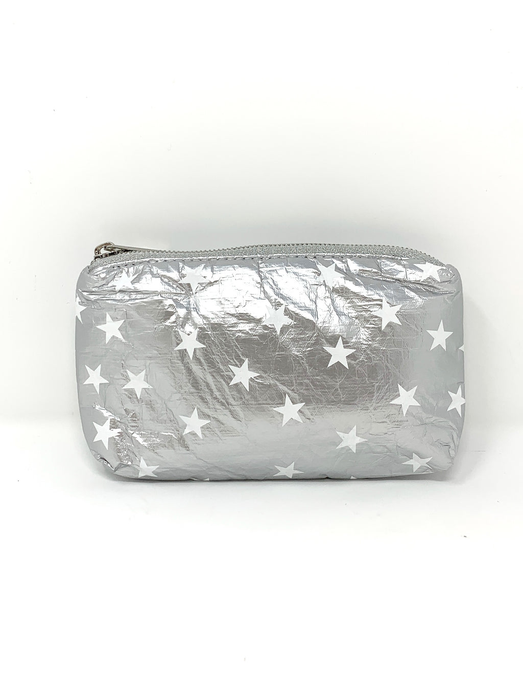 Hi Love Travel Silver Small Pouch with White Stars