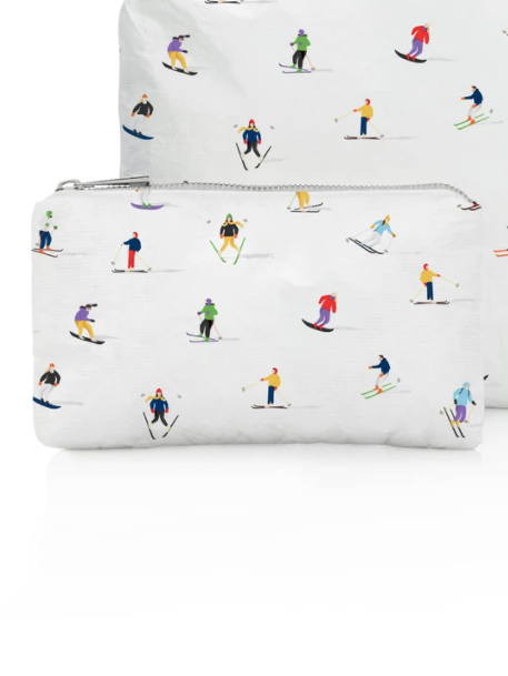 Hi Love Travel Small Pouch with Dancing Skiers