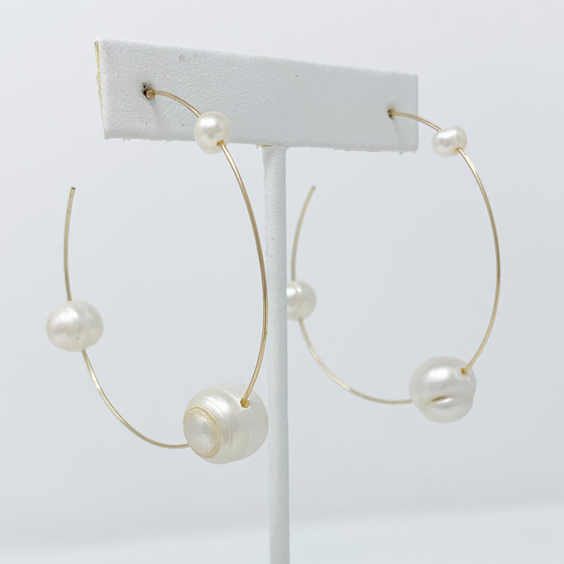 Sale! Spaced Out Pearl Hoops