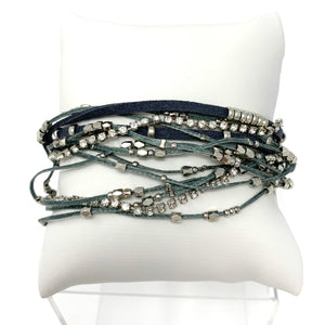 The Sparkly Leather Wrap Bracelet in Grey