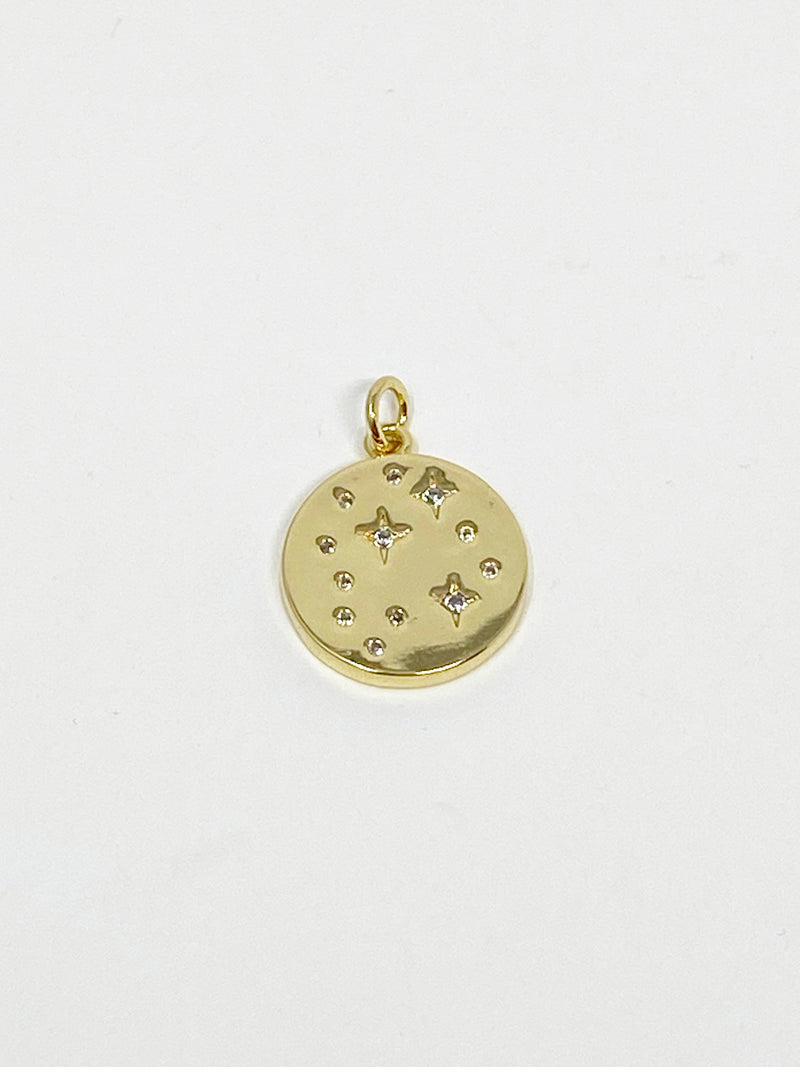 Charming Starry Stones Circle Charm in Gold