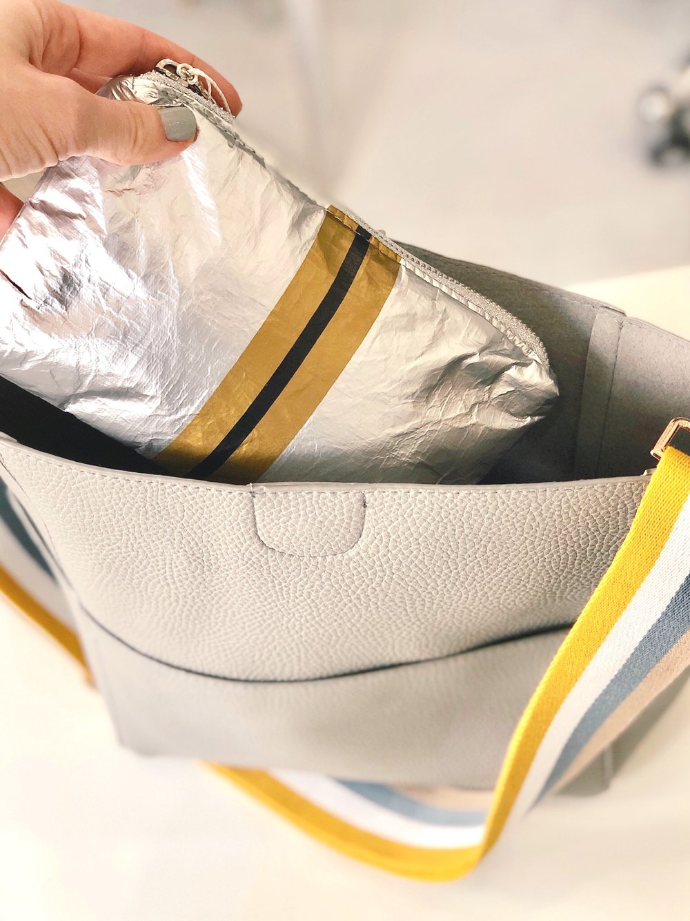 Hi Love Travel Silver with Gold Stripes Small Pouch