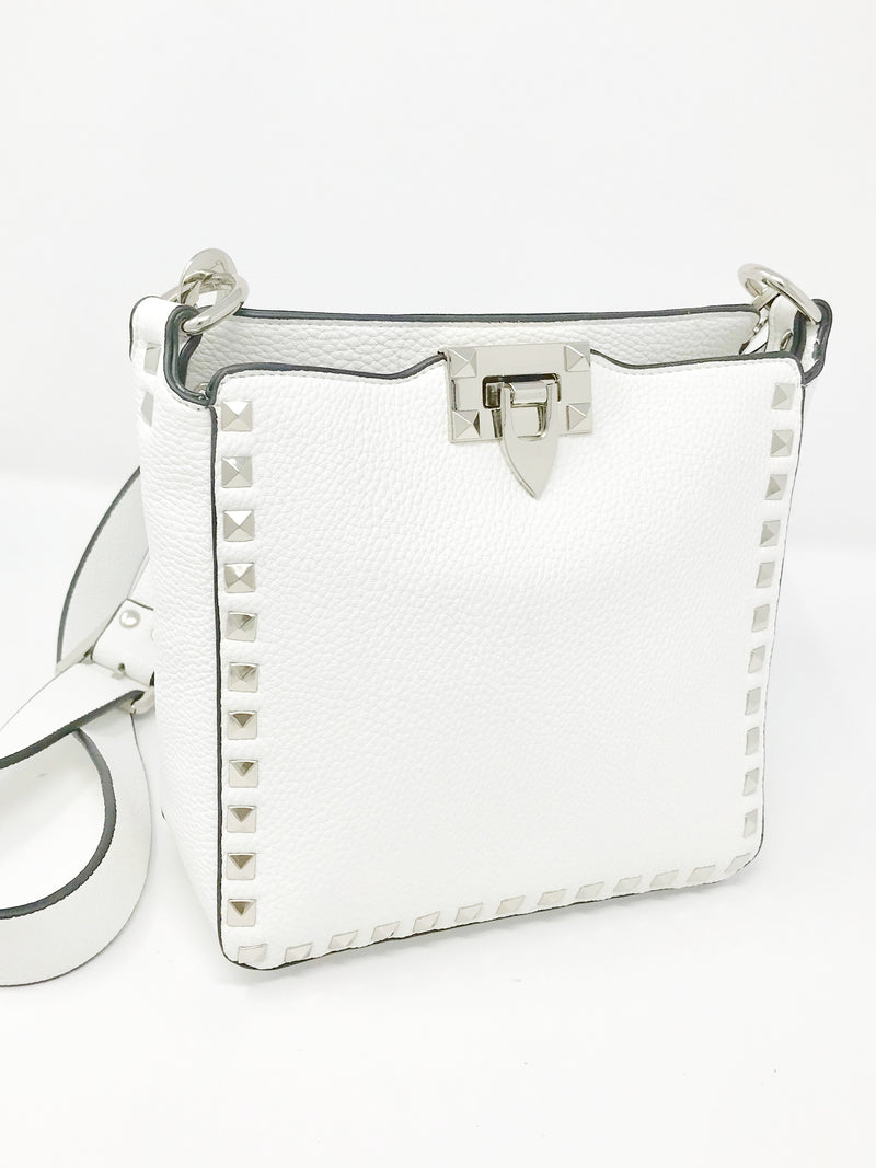 Small Studded Crossbody Bag in White