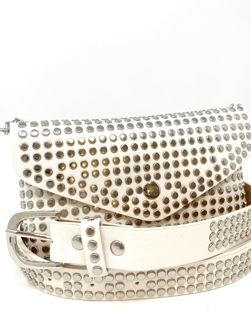 Studded Crossbody/ Belt Bag in White