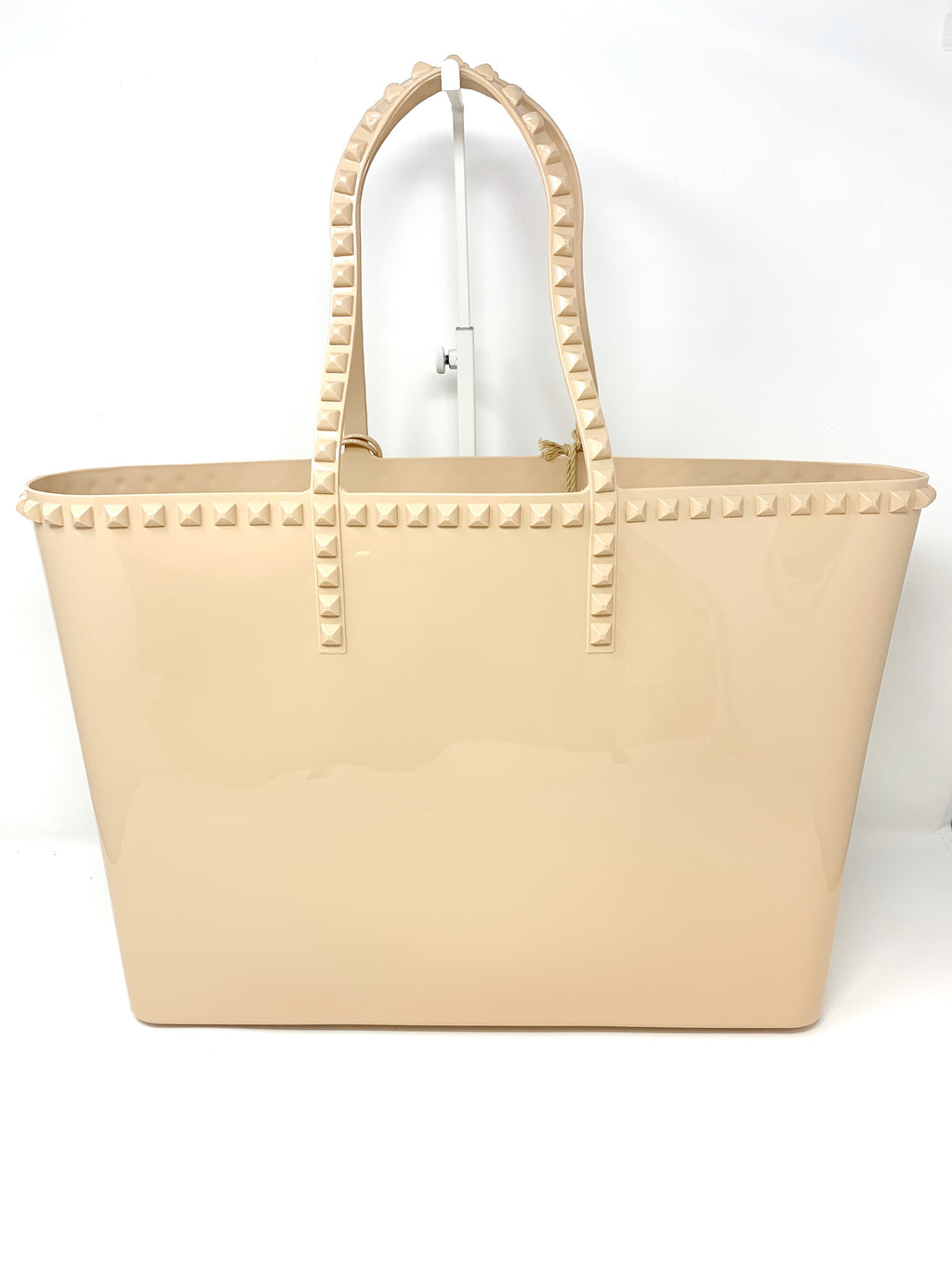 Studded Jelly Large Tote in Nude