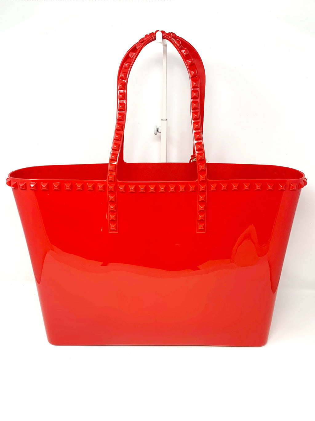 Studded Jelly Large Tote in Red