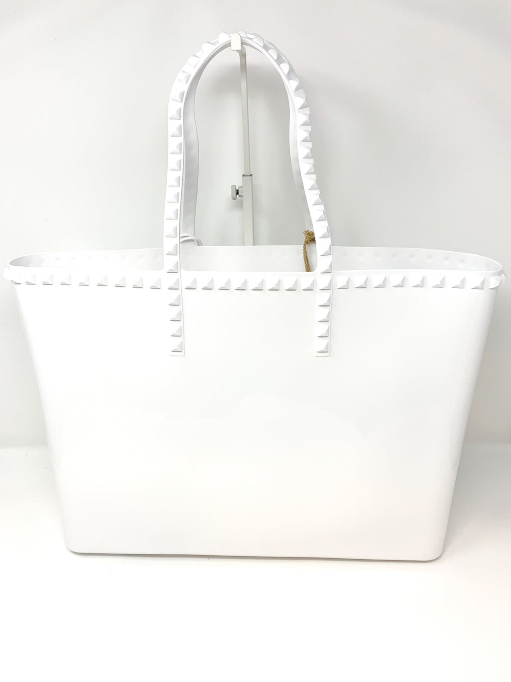 Studded Jelly Large Tote in White