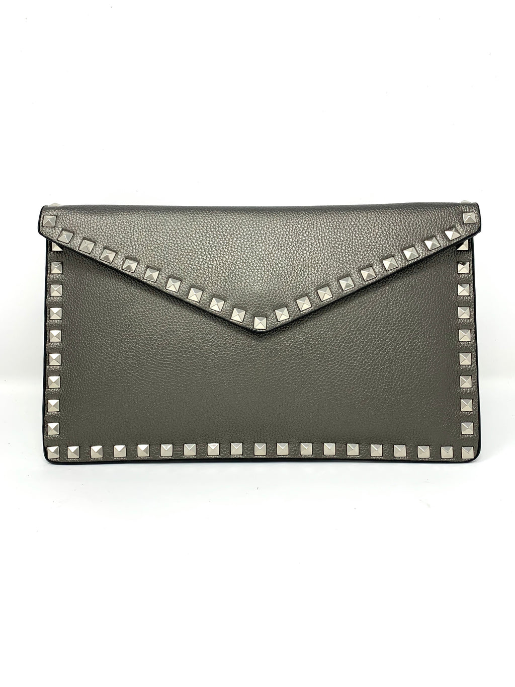 Studded Envelope Clutch in Pewter