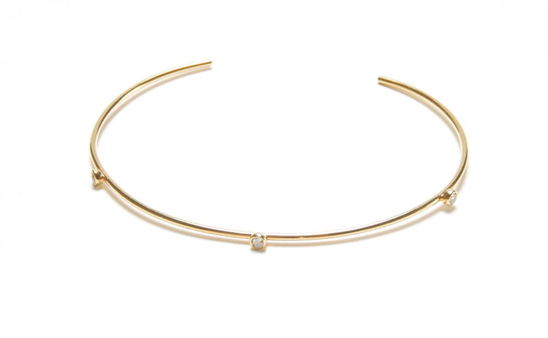 Three Stone Delicate Cuff in Gold