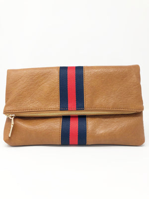 SALE! Lizzie Stripe Crossbody/ Clutch in Tan