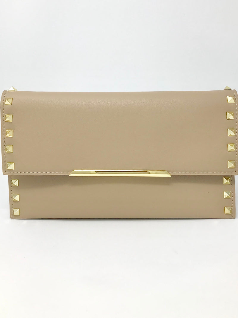 SALE! Tan and Gold Studded Clutch