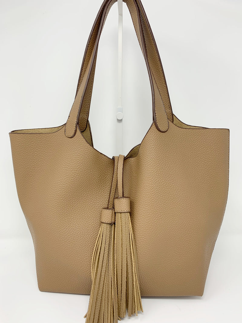Sale! Tassel Flap Bag with Matching Pouch in Tan