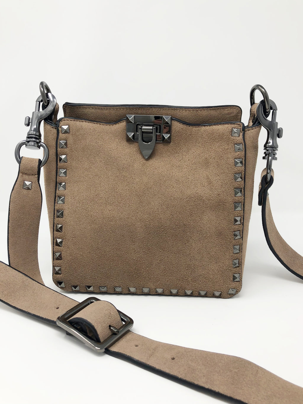 Studded Small Crossbody in Tan Suede