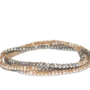 Beaded Wrap Bracelet in Taupe with Grey