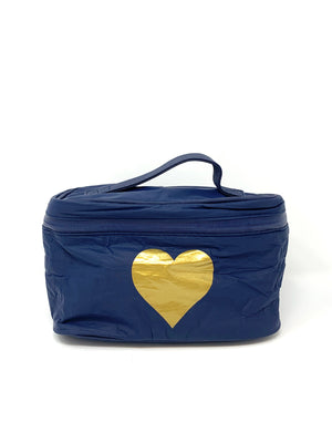 Hi Love Travel Navy Makeup Travel Pack with Gold Heart