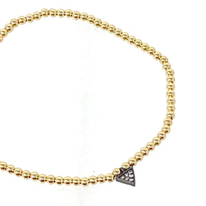 Mini Gold Ball Bracelet with Triangle Charm