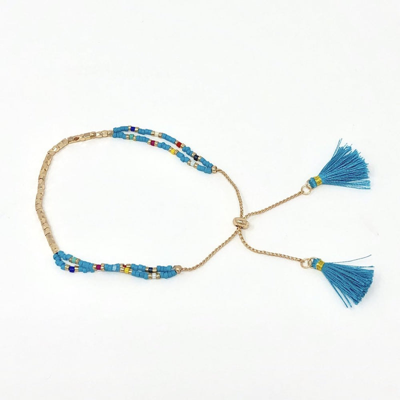 Delicate Colorful Tassel with Golden Beading