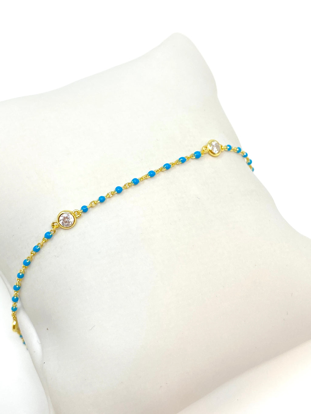 Dot Chain with Stones Anklet in Turquoise