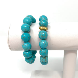 Individual Beaded Stackers in Turquoise Howlite