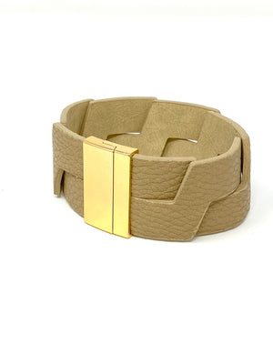 Leather Links Cuff in Nude