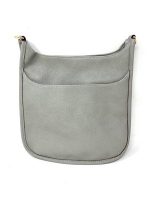 Saddle Bag in Vegan Leather in Light Grey