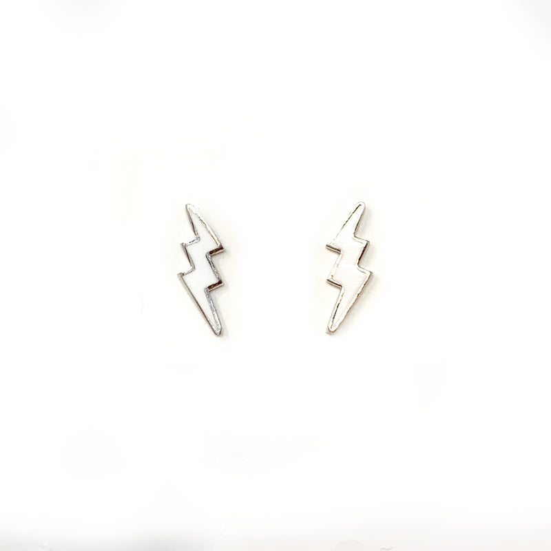Bolt Studs in Silver with White Enamel