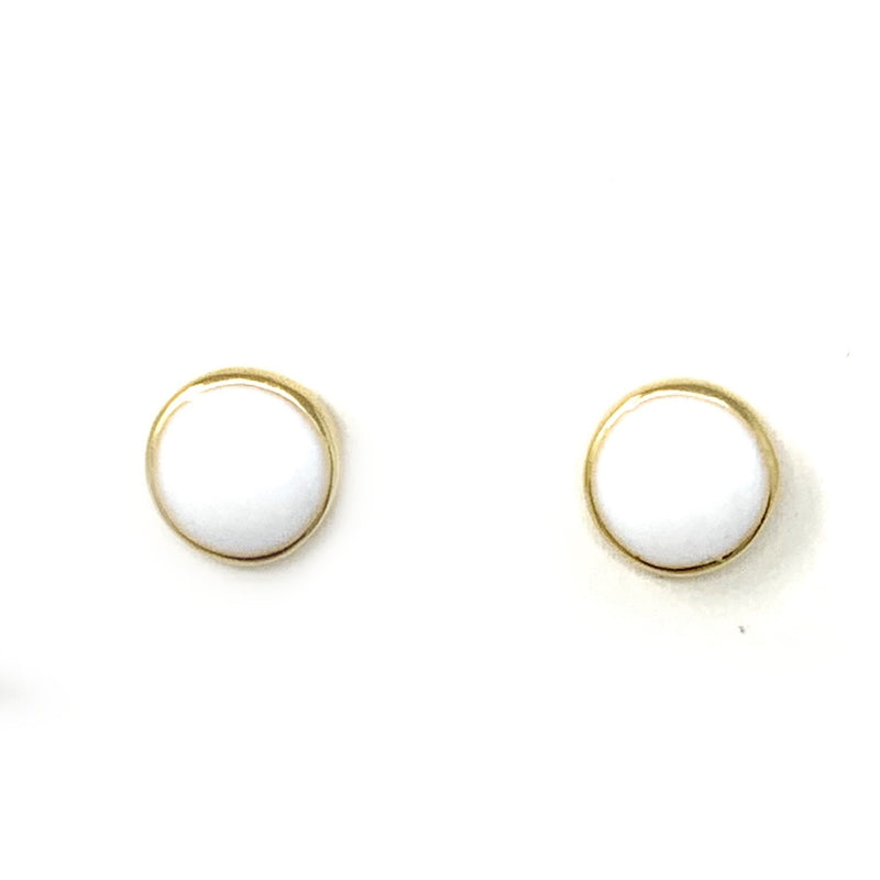 Enamel Circle Studs in White