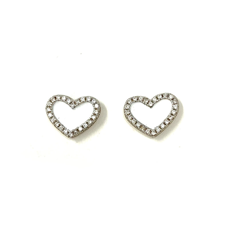 White Heart Pave Studs