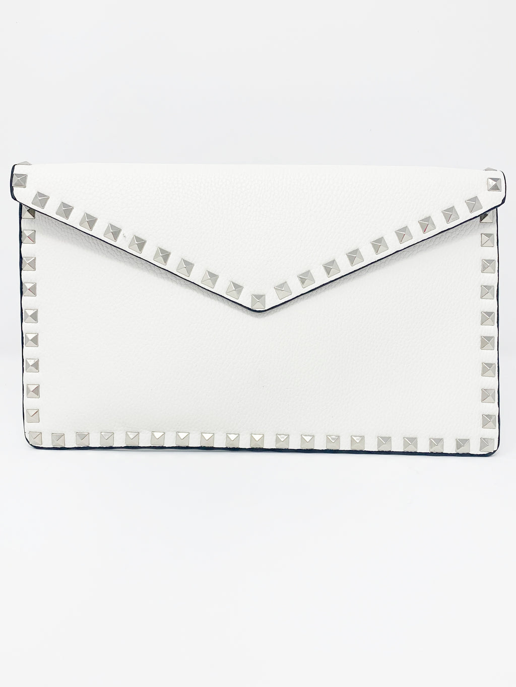 Studded Envelope Clutch in White