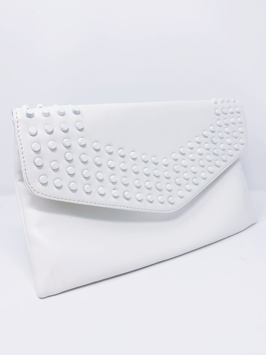 White Studded Clutch