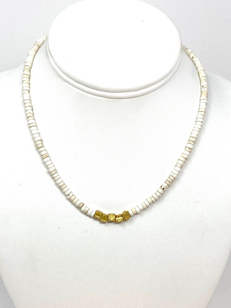 White Bone Necklace with Gold Faceted Beads