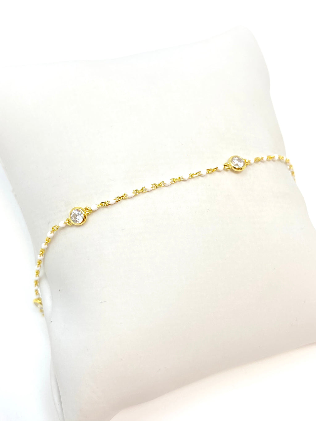 Dot Chain with Stones Anklet in White