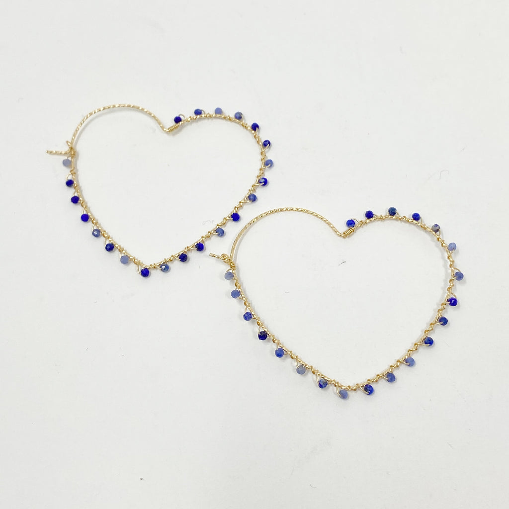 Wrapped Heart Hoops in Lapis