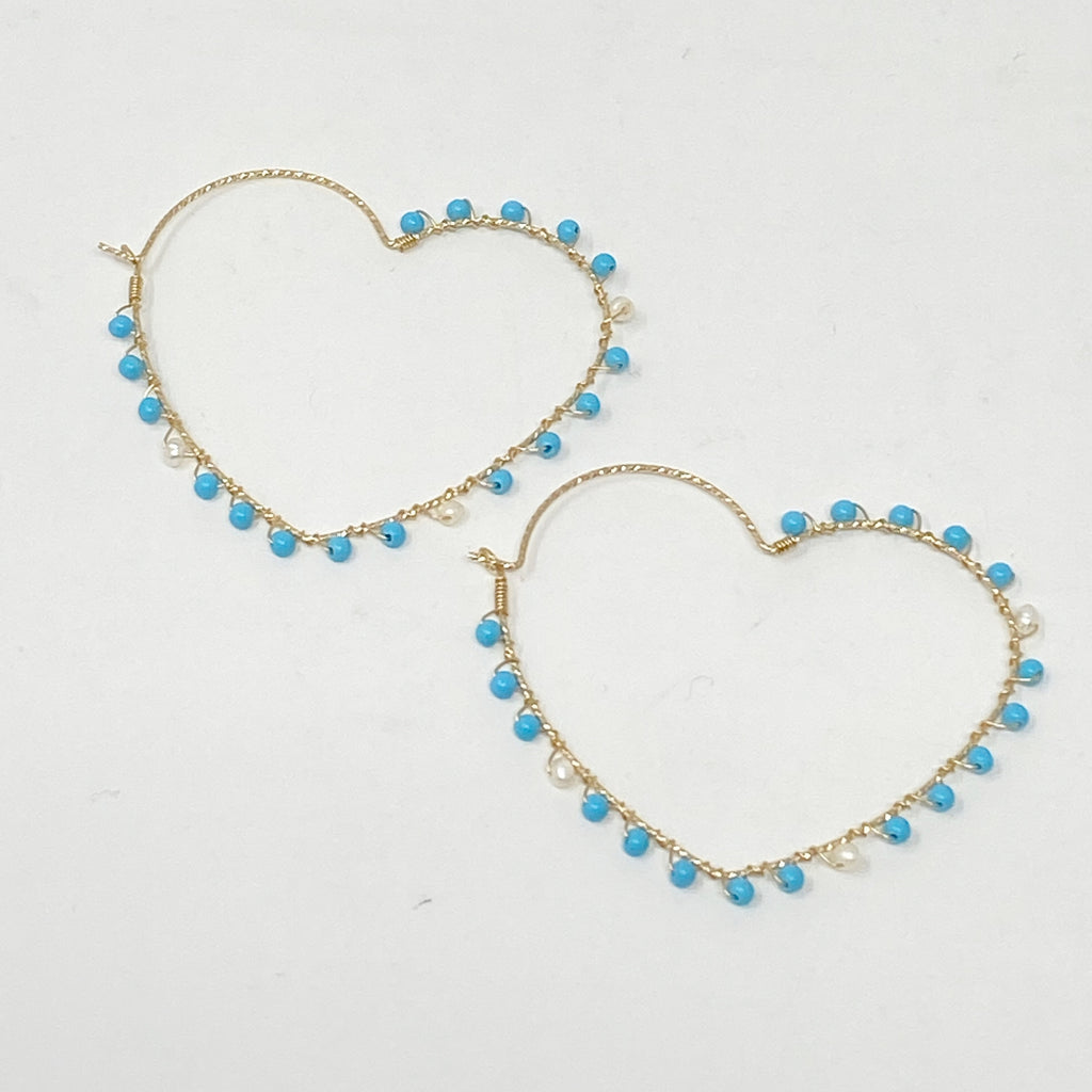 Wrapped Heart Hoops in Turquoise and Pearl