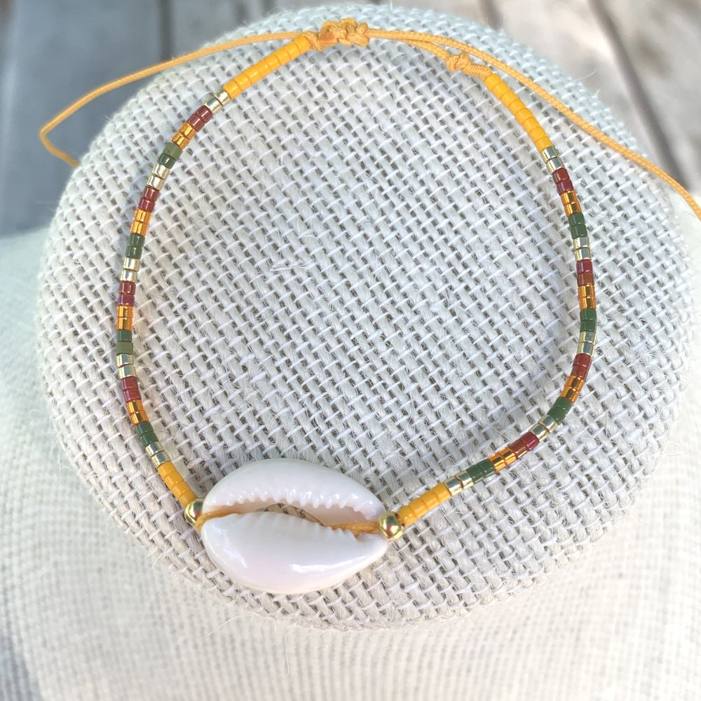 Yellow Beaded Puka Bracelet