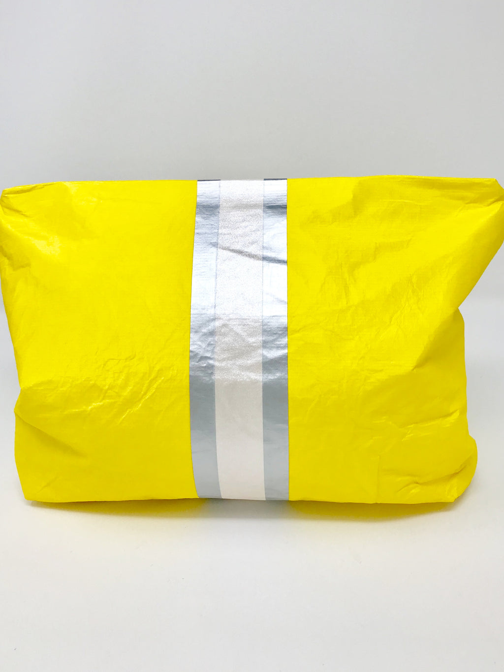 Hi Love Travel Medium Yellow Pouch with Silver Stripe