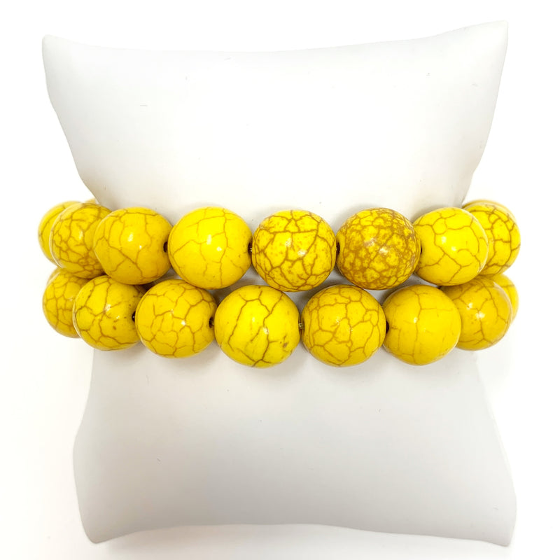 Individual Beaded Stackers in Yellow