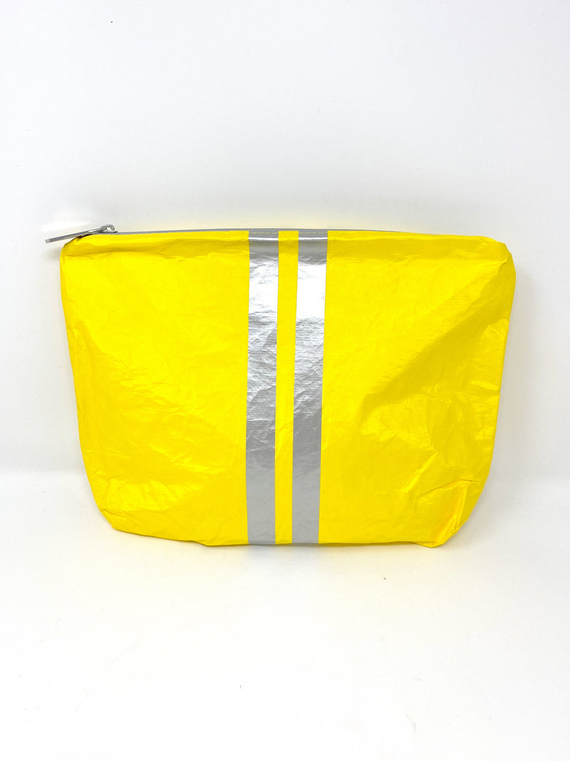 Hi Love Travel Medium Yellow Pouch with Double Silver Stripe