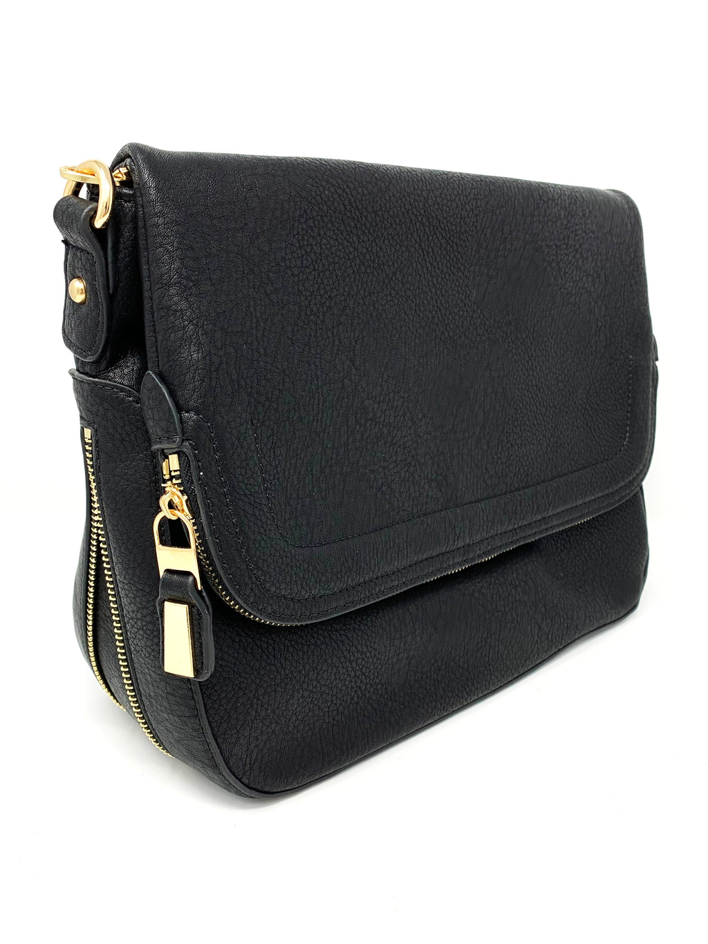 Zip Flap Hobo Bag in Black