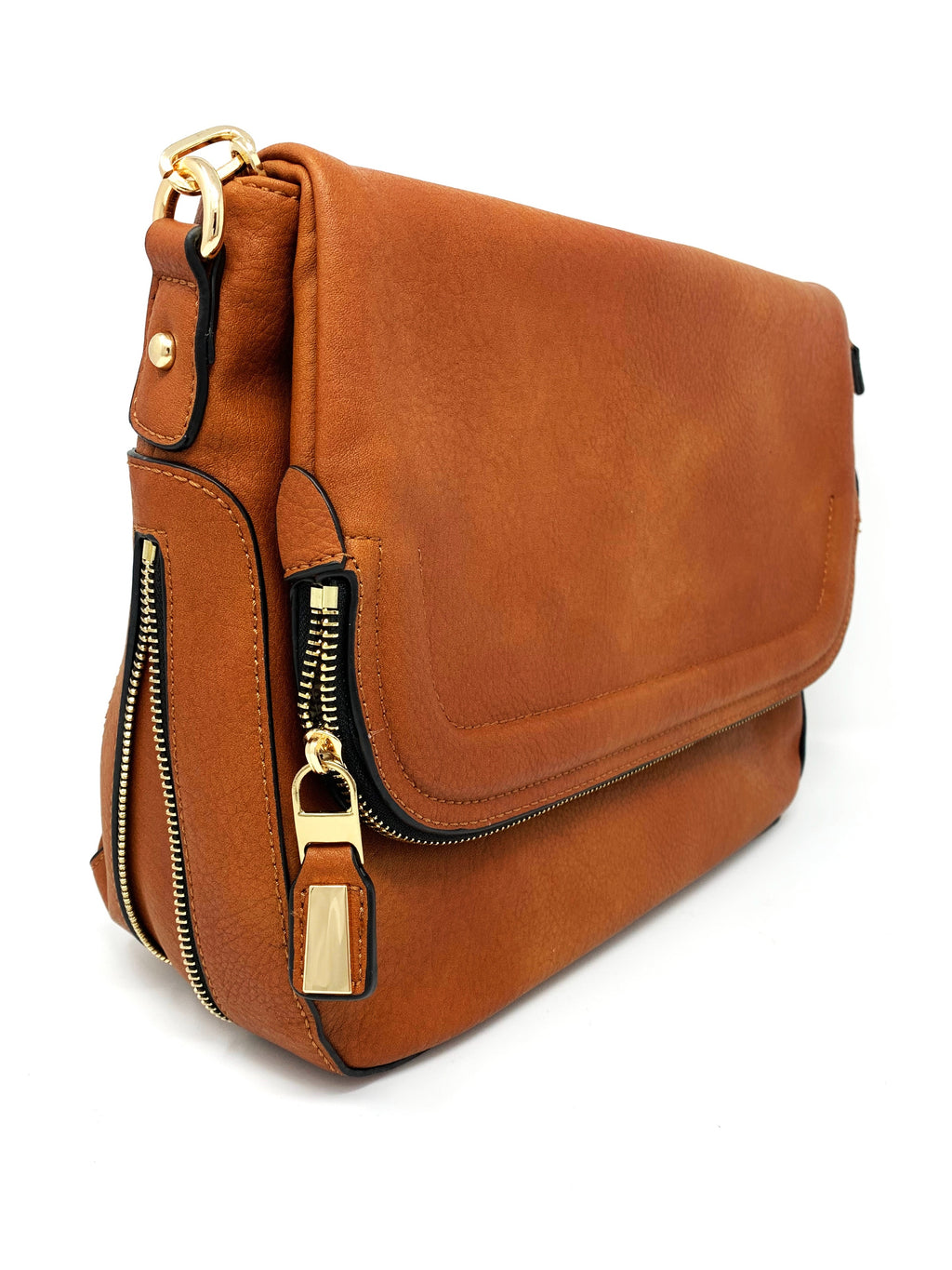 Zip Flap Hobo Bag in Cognac