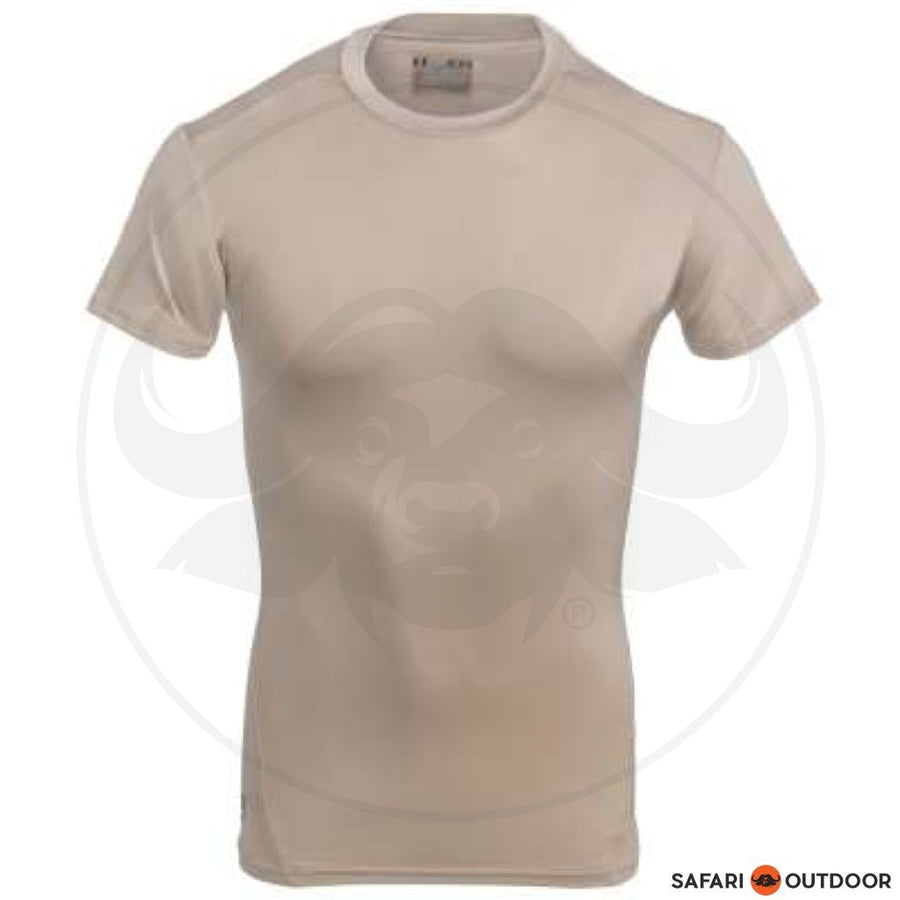 UNDER ARMOUR MEN TACT FITTED HEATGEAR SHORT SLEEVE - SAND